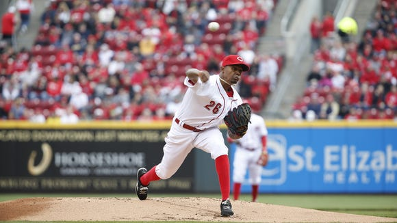 Reds starting pitcher Raisel Iglesias delivers during the first inning against the Phillies at GABP on Opening Day.