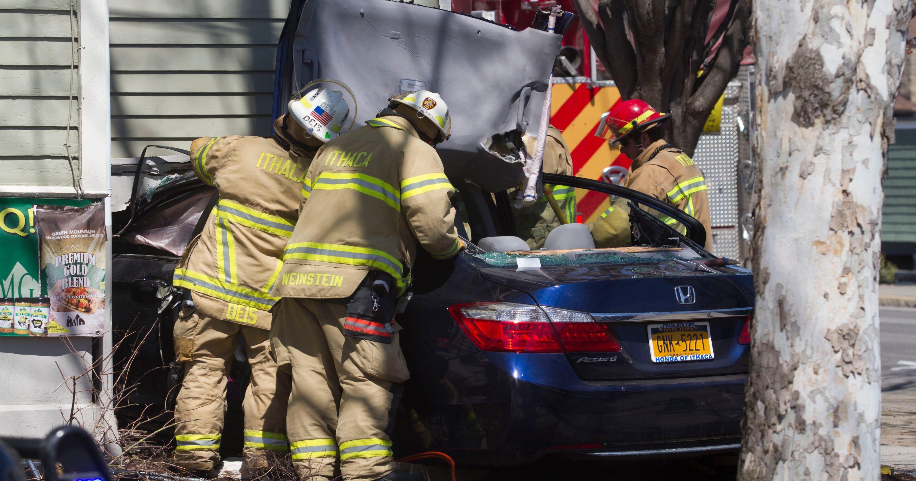 Car wrecks into Ithaca Stoveworks porch