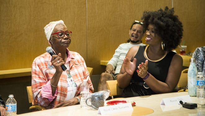 Millye Carter Bloodworth, left, and Monica Jones, right, speak at The Republic's Diversity Dialogue: Arizona's Transgender Communities in the Media on Tuesday, April 26, 2016, in Phoenix.
