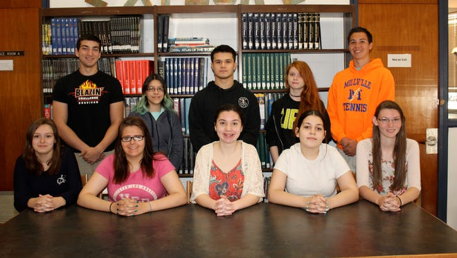 The Millville Senior High School's Students of the Month for March are: (seated, from left) Catherine Blair for business technology, Gabrielle Williams for health, Allison Turner for world language, Antoinea Griffiths for science, Kelli McCollum for math; and (standing, from left) Josh Sbrana for physical education, Zorian Rosado for English, Keith Mahoney for industrial technology, Katelynn Leason for art and Alex Bruman for music. Not pictured: Patrick Michaud for technology and Sandra Cruz for social studies.