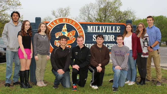 Millville Senior High School announced its top 10 students for the Class of 2016. They are: (from left) Joseph Nelson, Chelsea Smith, Samantha Price, Zachary Eckert, Joshua Sheppard, Julian Sacharnoski, Matthew Halloran, Brittany Gaddy, Mikayla Bozarth and Jacob Todd.