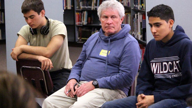 Local filmmaker Terry Nicholson visited with Deming High students in March to discuss plans for a Skype chat with Sudanese teens.