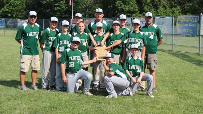 Top row, from left to right: coach Andy Myers, Peyton Stadler, Eric Ball, coach Mike Ball, Griffin Tabler, coach Gene Valentine. Middle row: Andrew Koons, Will Myers, Jake Myers, Andrew Gastley, Cody Valentine. Bottom row: Koty Mongan, Joshua Hazlett, Zack Oswald.