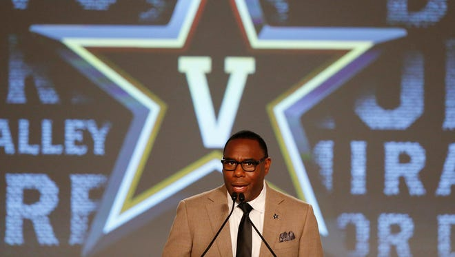 Vanderbilt coach Derek Mason speaks at SEC Media Days on  Monday, July 11, 2016.
