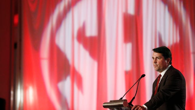 """South Carolina coach Will Muschamp speaking at the SEC Media Days in Hoover, Ala., said """"There is no three-year plan, five-year plan.The plan is to win now, okay? That's my mentality."""""""