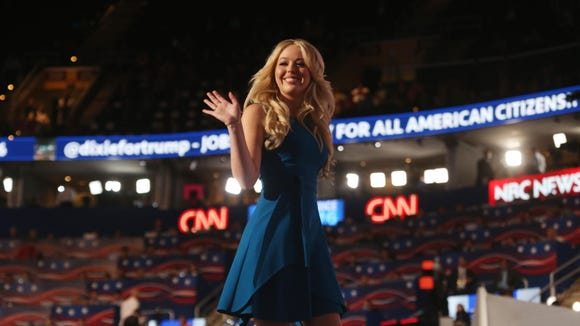 Tiffany Trump waves to the crowd after her speech during