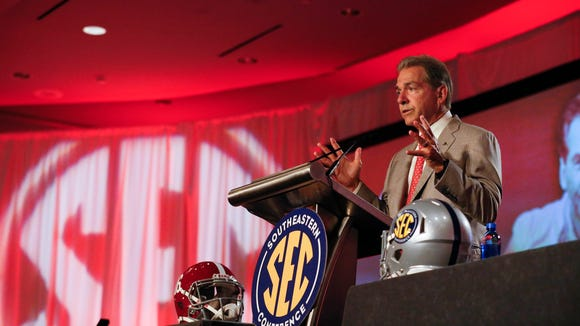 Alabama coach Nick Saban speaks to the media at the