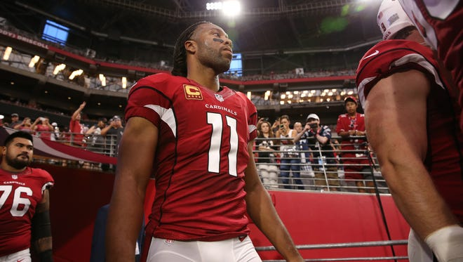 Arizona Cardinals Larry Fitzgerald (11) against the New England Patriots on September 11, 2016 in Glendale.