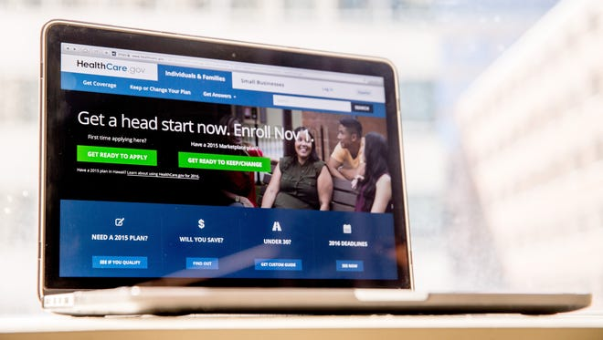 """In this Oct. 6, 2015, photo, the HealthCare.gov website, where people can buy health insurance, is displayed on a laptop screen in Washington. About 9 in 10 Americans now have health insurance, more than at any time in history. But progress is incomplete, and the future far from certain. Rising costs could bedevil the next occupant of the White House. Millions of people previously shut out have been covered by President Barack Obama's health care law. No one can be denied coverage anymore because of a pre-existing condition. But """"Obamacare"""" remains divisive, and premiums for next year are rising sharply in many communities."""