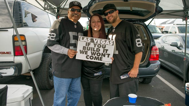 Oakland Raiders fans before the start of the game against Denver Broncos at Oakland Coliseum.