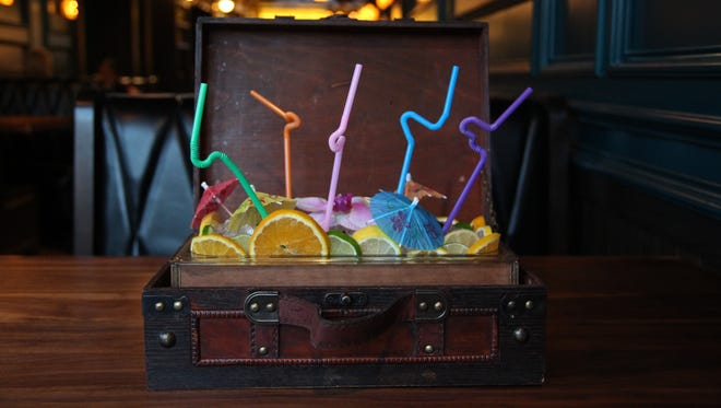 Westbound serves the Cocktail Carry On in a vintage suitcase in Los Angeles. The cocktail for six contains vodka, yuzu, thyme, sage and peat smoke.