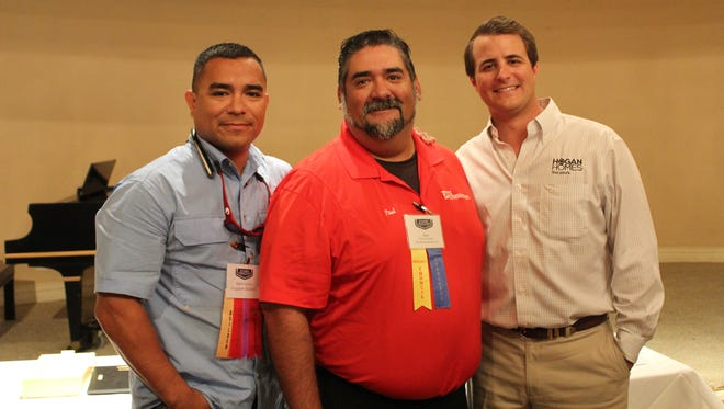 Mark Garza (from left), Paul Cervantes, and Trey Summers at the BACC and CBHBA ceremony where the 2017 Board of Directors were recently announced.