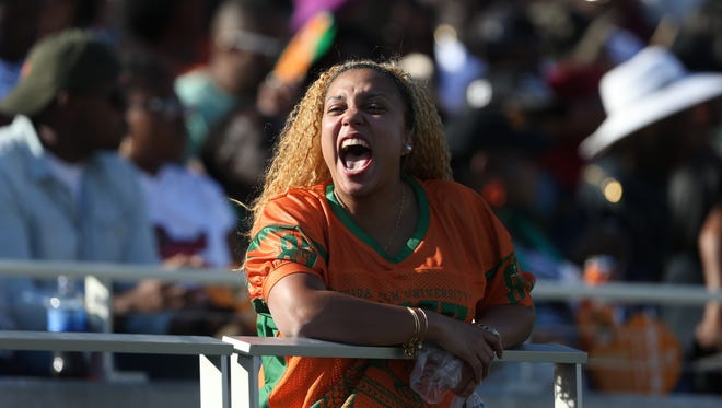 Fans Watch as FAMU takes on Bethune-Cookman during the Florida Classic at Camping World Stadium in Orlando on Saturday.