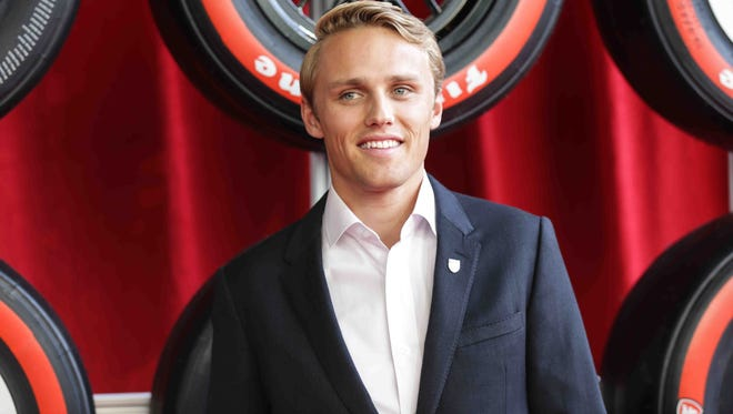 Indy Car Driver Max Chilton walks the red carpet during the Verizon Indy car Championship Celebration, held at the Hilbert Circle Theatre, Tuesday October 4th, 2016.