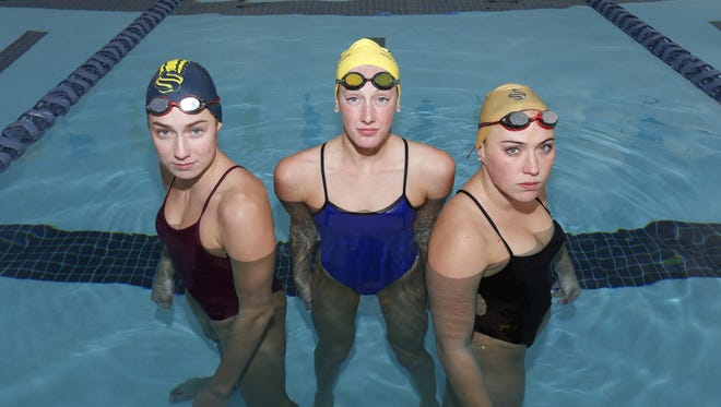 From left, Anthem Boulder Creek's Claire Grover, Scottsdale Chaparral's Taylor Ruck and Scottsdale Chaparral's Emma Broome are finalists for the Arizona Sports Awards, presented by Arby's, Girls Swimming Athlete of the Year.