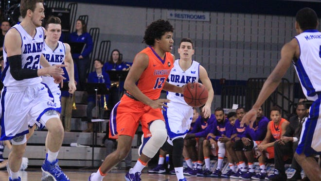 Evansville freshman Dru Smith pushes the ball upcourt during Sunday's game against Drake at the Knapp Center in Des Moines, Iowa. Smith finished with a season-high 14 points and six assists after missing the previous five games with a knee injury.