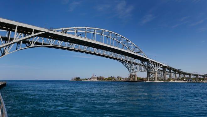The Blue Water Bridge connecting Sarnia, Ontario to Port Huron.