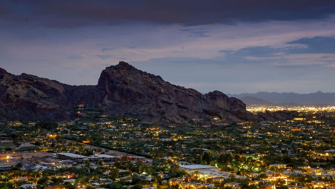Camelback Mountain as seen from Paradise Valley.