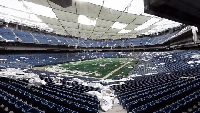 The interior of the Pontiac Silverdome in 2014.
