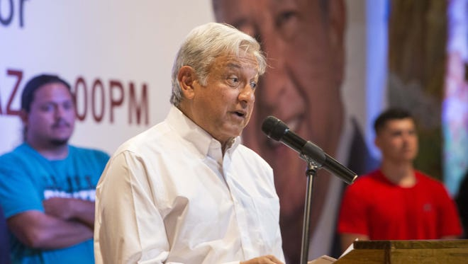 Lopez Obrador spoke before hundreds of cheering supporters, mostly immigrants from Mexico, at Salon Tradiciones in Phoenix.