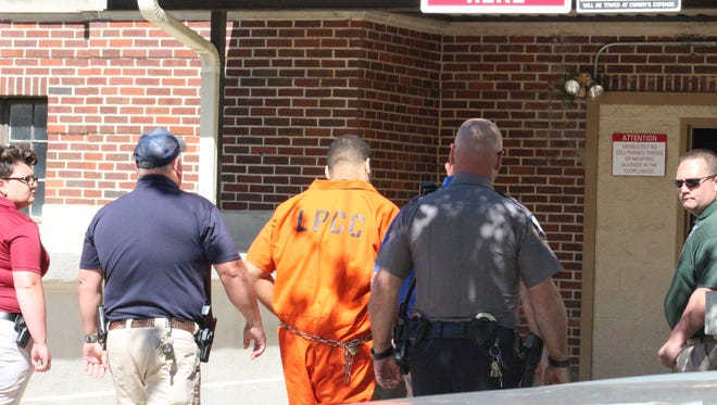 Derrick Stafford is led into the Avoyelles Parish Courthouse on Friday morning for his sentencing. He received 15 years in prison for his March 24 attempted manslaughter conviction in the wounding of Christopher Few and 40 years for his manslaughter conviction in the death of 6-year-old Jeremy Mardis. The sentences are to be served concurrently.