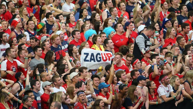 Gonzaga fans react during the second half of the NCAA Final Four semifinal game against South Carolina at University of Phoenix Stadium in Glendale on Saturday, April 1, 2017.