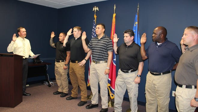New deputies were sworn in recently for the Montgomery County Sheriff's Office. Martin Aubrie, Jacob Brumfield, Nicholas Rodriguez, Michael Smith, Douglas Thomasson, and Jason Williams have all been assigned to the Detention Division.