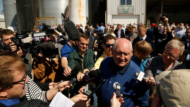 U.S. Secretary of Agriculture Sonny Perdue takes questions from members of the media Friday, May 5, 2017, during a visit to Couser Cattle Co. in Nevada, Iowa.