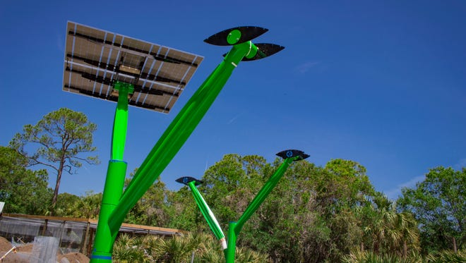 Three solar trees are installed as part of the Lands of Change: Australia and Beyond exhibit at the Brevard Zoo in Melbourne.