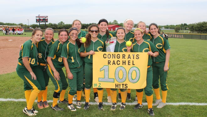 Clearview's Rachel Albertson, behind poster with ball in hand, earned hit No. 100 in the eighth inning of the No. 10 seeded Pioneers' 2-0 upset win over No. 2 seed Kingsway on Tuesday.