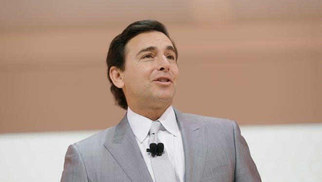 Mark Fields, then CEO of Ford Motor Company addresses the media before the unveiling of the 2017 Lincoln Continental at the North American International Auto Show,