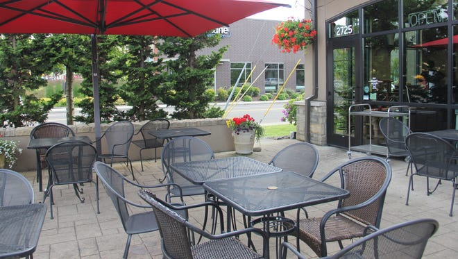 French Press serves diners coffee and crepes outside at its Commercial Street location.