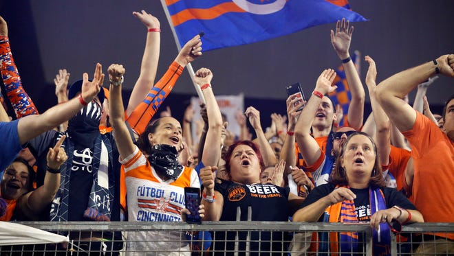 FC Cincinnati fans celebrate the win against Chicago Fire FC during the Lamar Hunt US Open Cup match between the Chicago Fire and FC Cincinnati on June 28, 2017 at Nippert Stadium.