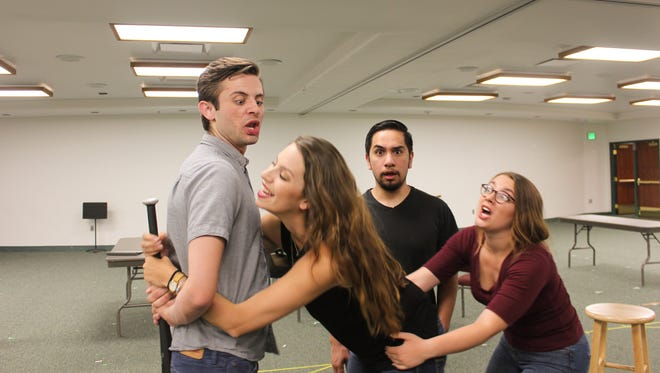 "Kade Cox as Garry, Selena Price as Belinda, Robert Wilson as Tim and Jordyn Aspyn as Poppy rehearse a scene from the Neil Simon Festivla's 2017 production of ""Noises Off!"""