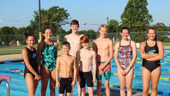 Members of the Mountain Home Hurricanes swim team who will compete at the Junior Olympics are: (first row, from left) Ajay Reiss, Liam Pace, (second row) Sierra Trogdon, Maddy Lynch, Hudson Pace, Micah Cruse (not attending), Katie Finley and Maggie Thompson. Not Pictured: J.D. Duke, Joia Traver, Peeka Traver, Dalton Tucker and Glen Sailor.