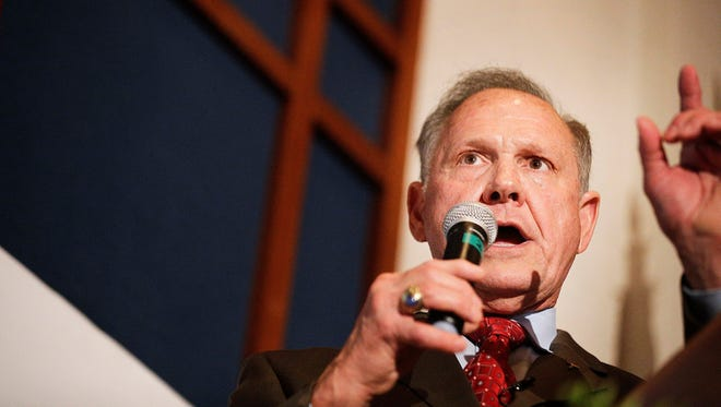 Former Alabama Chief Justice and U.S. Senate candidate Roy Moore speaks to supporters, Tuesday, Aug. 15, 2017, in Montgomery, Ala. Moore, who took losing stands for the public display of the Ten Commandments and against gay marriage, forced a Senate primary runoff with Sen. Luther Strange, an appointed incumbent backed by both President Donald Trump and heavy investment from establishment Republican forces.