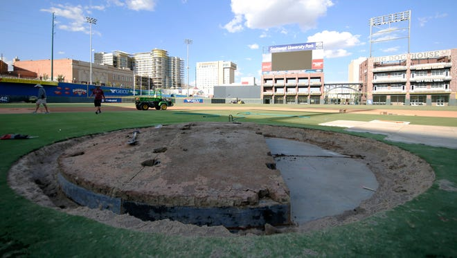 Members of the El Paso Chihuahuas groundcrew began the process of removing the removable mound at Southwest University Park in preparations for their October events that will be held at the ballpark, beginning with soccer and two concerts later in the month. The removable mound is one of five inall of baseball.
