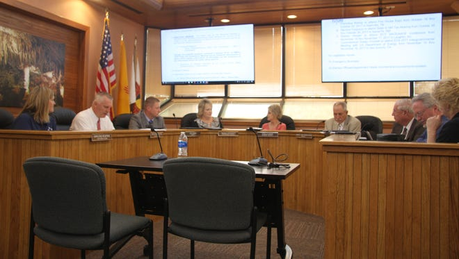 Eddy County Commissioners discuss business at Tuesday's meeting, Oct. 3, 2017. Commissioners did not make a motion to move forward with closure of a portion of Roberson Road.