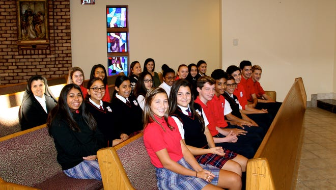 """Eighth graders from Bishop Schad Regional School in Vineland were """"First in Math"""" during October."""