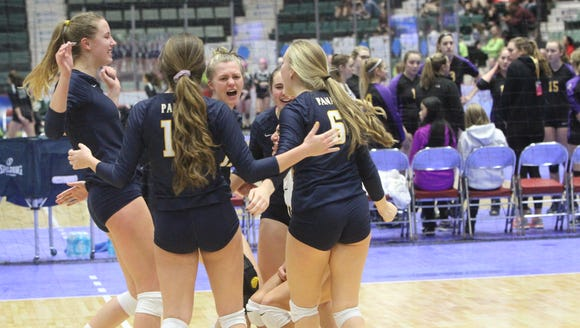 Panas volleyball players celebrate after beating Kings