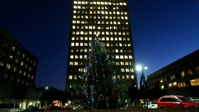 The holiday tree in Government Plaza in the City of Binghamton on Tuesday, November 28, 2017. New York State Assemblywoman Donna Lupardo held a lighting ceremony earlier in the evening.