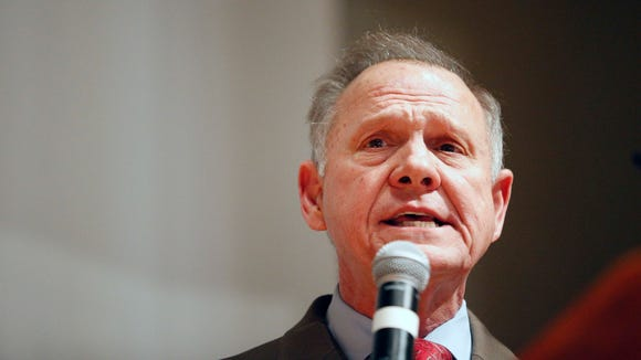 U.S. Senate candidate Roy Moore speaks at the end of an election-night watch party Dec. 12 in Montgomery, Alabama.