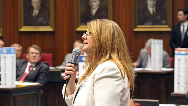 Rep. Kelly Townsend, R-Mesa, introduced the bill that would exempt the communications from being covered by the state public records law, just days after lawmakers dramatically voted to remove Rep. Don Shooter from office.