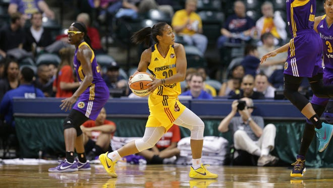 Indiana Fever guard Briann January (20) runs a play against the Los Angeles Sparks during a game at Bankers Life Fieldhouse , Wednesday May 24, 2017.