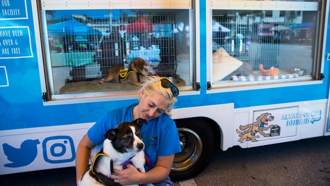 Humane Society volunteer Meghan Gifford sits with Ziggy, a blind 8-year old Parson Russell terrier, outside of the Paws Around Town adoption bus during the sixth annual Woofstock at Mercato in North Naples on Sunday, Feb. 25, 2018.