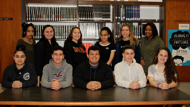 Millville High School's Students of the Month for January are: (seated, from left) Catherine Romero, Jeremy Donnally, Jalen Bryan, Matthew Weisgerber and Lauren Kavanagh; and (standing, from left) Alamna Tapia Hernandez, Alexia Bartleson, Marissa Felix, Jeanaya White, Kelsie Bishop and Faith Torres.