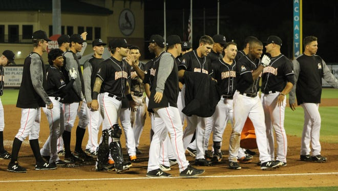 The Jupiter Hammerheads celebrate their fourth walk-off of the season April 19, defeating Lakeland 6-5.