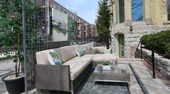 This outdoor terrace was created by designer Elyn Feinauer