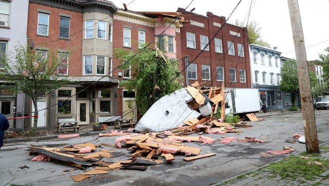 A roof blown off a building on Liberty Street in Newburgh by Tuesday's storm on May 16, 2018.