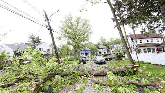 A tree knocked down Carpenter Avenue North in Newburgh by Tuesday's storm on May 16, 2018.